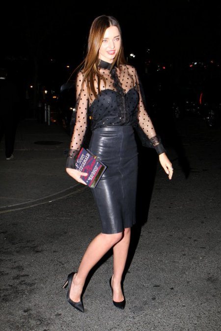 Miranda-Kerr-kept-things-sexy-leather-pencil-sheer-blouse