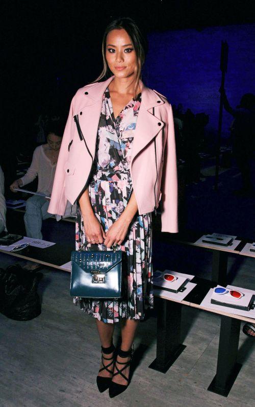 jamie-chung-rebecca-minkoff-pink-moto-jacket-printed-dress-1-main