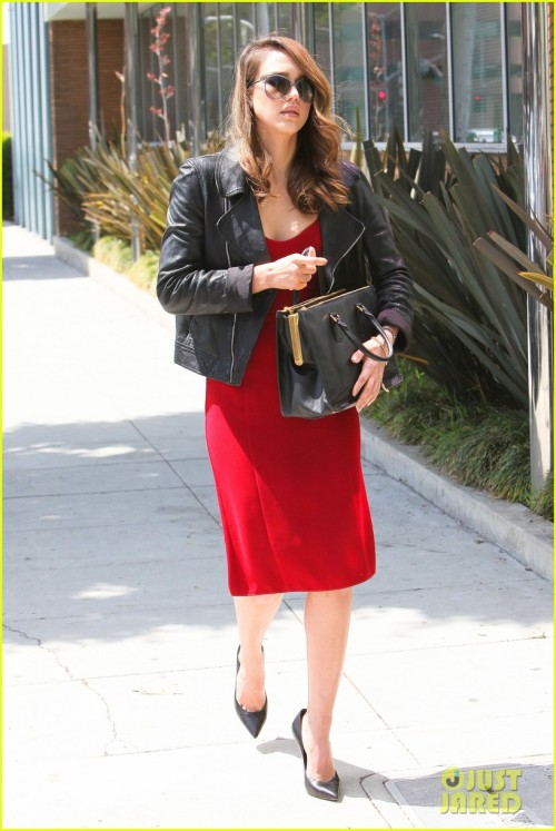 Beverly Hills, CA - Jessica Alba leaves a Beverly Hills office on Friday wearing a red dress with a black leather jacket over it. AKM-GSI May 18, 2012 To License These Photos, Please Contact : Steve Ginsburg (310) 505-8447 (323) 4239397 steve@ginsburgspalyinc.com sales@ginsburgspalyinc.com or Keith Stockwell (310) 261-8649 (323) 325-8055 keith@ginsburgspalyinc.com ginsburgspalyinc@gmail.com or Thaissa Kantif Voigt (310) 619-0000 thaissa.voigt@akmimages.net