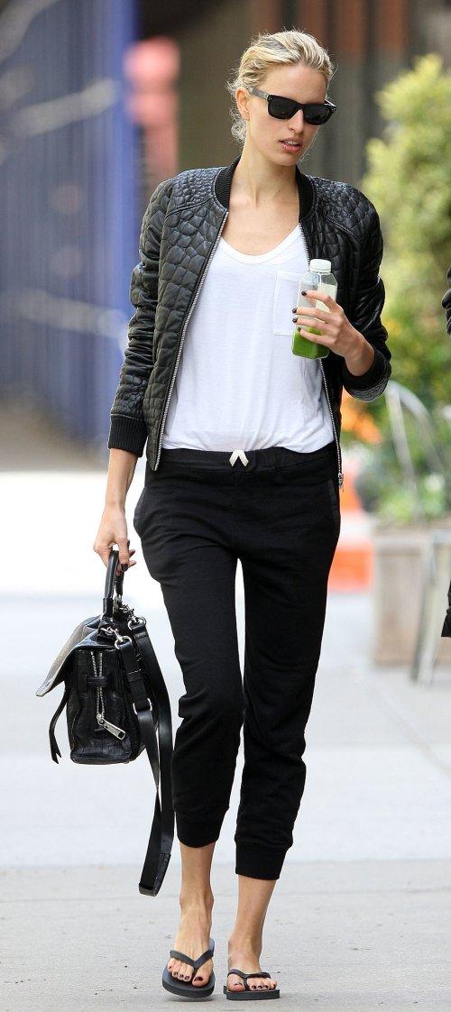 Karolina-Kurkova-black-leather-bomber-jacket-injected-instant-luxe