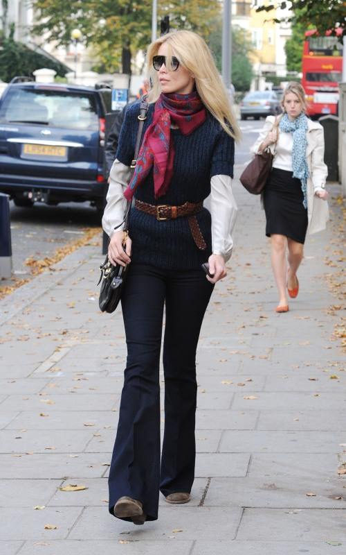 Claudia Schiffer wearing a scarf and flared trousers, after dropping her son off at school London, England - 12.10.10 Featuring: Claudia Schiffer Where: London, United Kingdom When: 12 Oct 2010 Credit: WENN