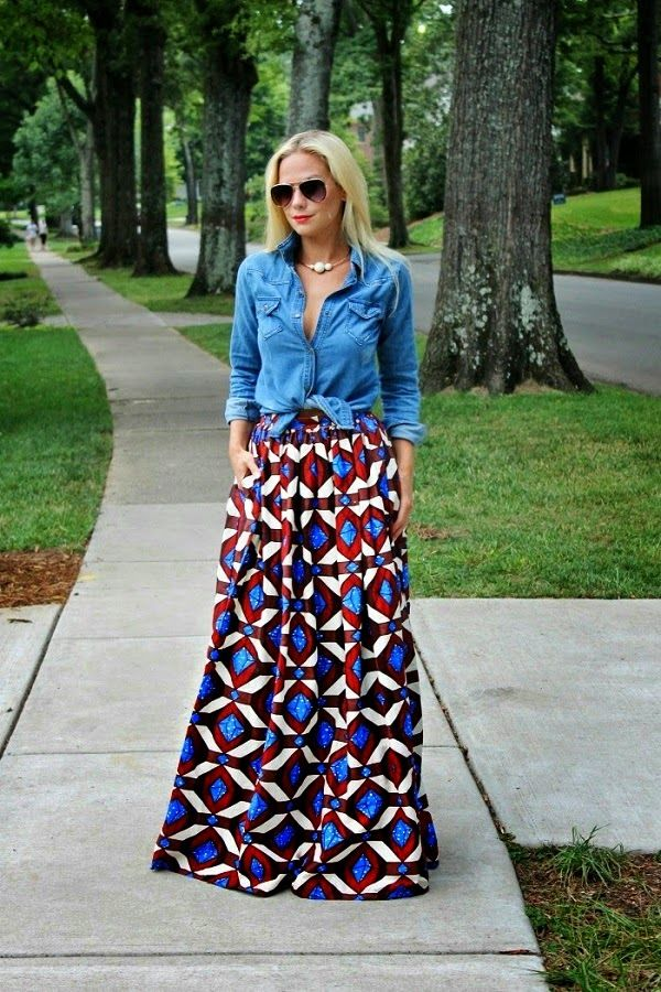 casual-outfit-with-denim-top-and-maxi-skirt