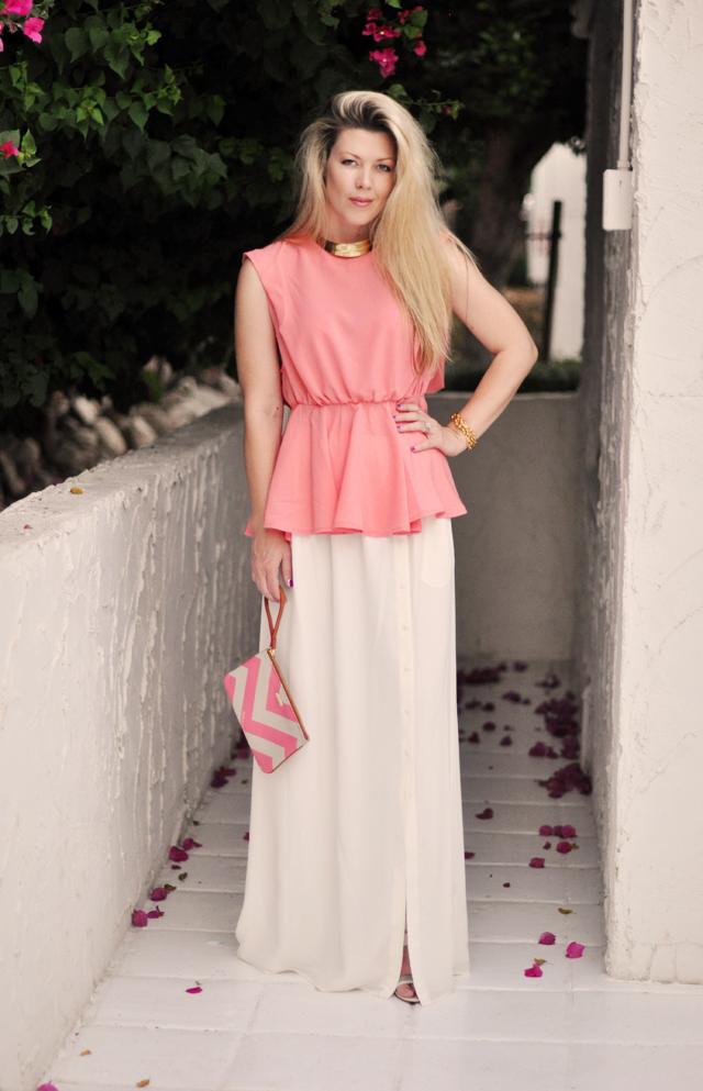 fashion-white-maxi-skirt-peach-peplum-chevron-clutch
