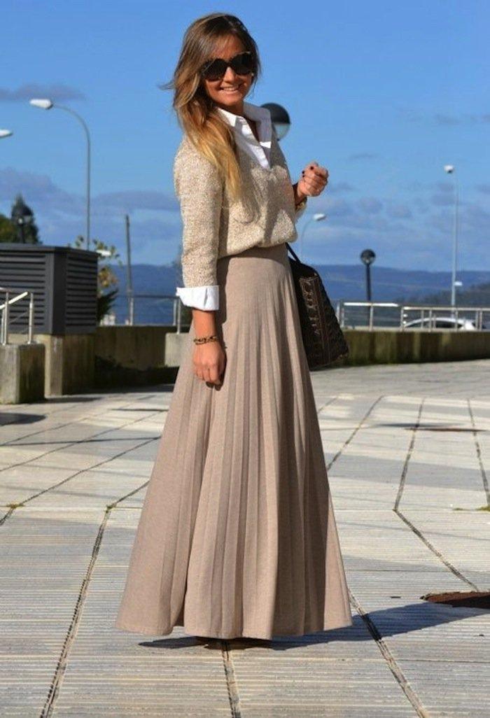 Лук с длинным платьем
