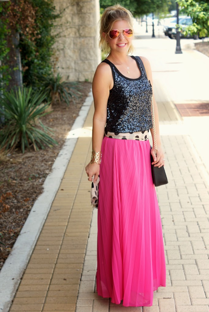 pink pleated maxi skirt  sequin top 1